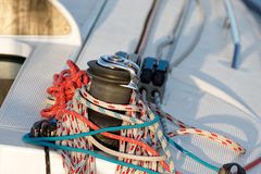 Winch on a sailing boat Royalty Free Stock Images