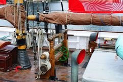 Winch on sailing ship. Deak of sailing ship in the albert dock liverpool Stock Image