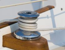 Winch with sheet. Sailing winch with sheet for jib Royalty Free Stock Image