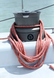 Winch sheet with rope on a sailing yacht Royalty Free Stock Photography