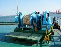 Winch. At streamship,Auto-hide cable Stock Photo