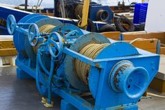 Winches on the deck of trawler in Portavogie harbour in the Ards Peninsula in County Down, Northern Ireland Royalty Free Stock Photos