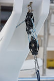 Winches and rope, yacht detail. Royalty Free Stock Images