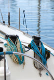The winches and ropes of a sailboat, detail Royalty Free Stock Photos