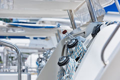 Winches and ropes, sailing yacht detail Royalty Free Stock Photography