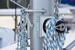 Winches and ropes, sailing yacht detail Stock Images