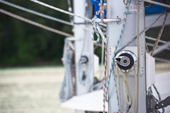 Winches and ropes, sailing yacht detail Stock Photos