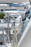 Winches and ropes, sailing yacht detail Royalty Free Stock Photos