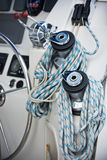 Winches and ropes, sailing yacht detail Royalty Free Stock Image