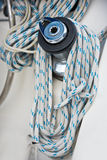 Winches and ropes, sailing yacht detail Stock Image