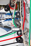 Winches and ropes, yacht details Stock Photo