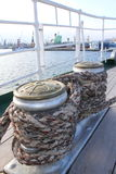 Winches wrapped with rope Stock Photos