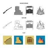 Winchester, αίθουσα, βράχος, πυρκαγιά Άγρια εικονίδια δυτικής καθορισμένα συλλογής στο επίπεδο, περίληψη, μονοχρωματικό απόθεμα σ στοκ εικόνες