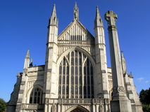 Winchester Cathedral. At Winchester was originally founded in 642  and is one of the largest cathedrals in England and is the seat of the Bishop of Winchester Stock Image
