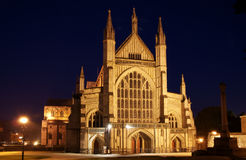 Winchester Cathedral. Image of front of Winchester Cathedral at night Stock Images