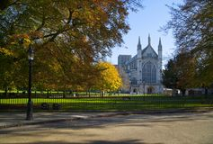 Winchester Cathedral in Autumn,Hampshire ,England. West end of Winchester Cathedral , Hampshire in Autumn. It is one of the largest cathedrals in England, with stock images