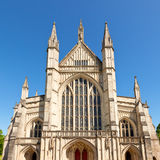 Winchester Cathedral facade. Front facade of Winchester Cathedral in England Stock Photo