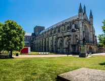 Summertime at Winchester Cathedral royalty free stock images