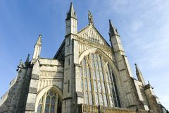 Winchester Cathedral looking glorious in this upward view Stock Photo