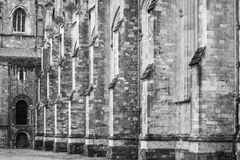 Winchester cathedral - side pillars BW Stock Photos