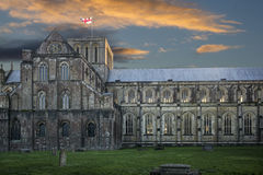 Winchester cathedral at sunset Royalty Free Stock Photo