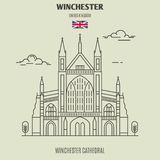 Winchester Cathedral, UK. Landmark icon. In linear style stock illustration
