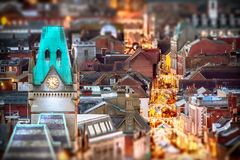 Winchester city night view at Christmas. Winchester city view at night with Christmas market stalls in the high street Royalty Free Stock Image