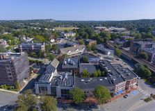 Winchester downtown, Massachusetts, USA. Aerial view of Winchester Center Historic District in downtown Winchester, Massachusetts, USA Stock Image