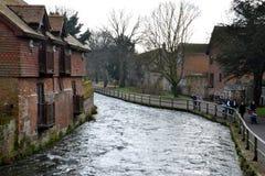 Winchester, Engeland, Rivier Itchen Royalty-vrije Stock Foto
