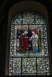 WINCHESTER HAMPSHIRE/UK - MARS 6: Målat glassfönster i seger Royaltyfri Bild