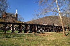 Winchester and Potomac Railroad Trestle in Harpers Ferry Royalty Free Stock Image