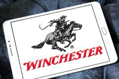 Winchester Repeating Arms Company logo. Logo of Winchester Arms Company on samsung tablet. The Winchester Repeating Arms Company is a prominent American maker of Royalty Free Stock Photo