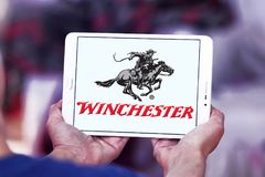 Winchester Repeating Arms Company logo. Logo of Winchester Arms Company on samsung tablet. The Winchester Repeating Arms Company is a prominent American maker of Royalty Free Stock Photos