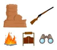 Winchester, Saal, Felsen, Feuer Vector gesetzte Sammlungsikonen des wilden Westens in der Karikaturart Illustrationsnetz des Symb Lizenzfreie Stockfotos