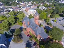 Winchester Town Hall, MA, USA. Winchester Town Hall aerial view at Winchester Center Historic District panorama in downtown Winchester, Massachusetts, USA Royalty Free Stock Image