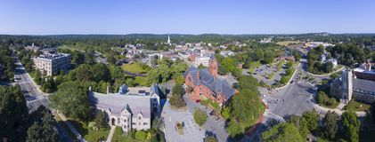 Winchester Town Hall, MA, USA. Winchester Town Hall and First Congregational Church at Winchester Center Historic District panorama in downtown Winchester royalty free stock photos