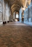 Winchester UK. Close up of the medieval encaustic floor tiles in the south isle of the retrochoir at Winchester Cathedral
