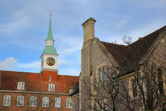 WINCHESTER, UK: Exterior view of the Castle Hill along Castle Avenue and close to the Great Hall with a Clock Tower Stock Photo