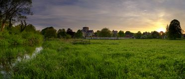 Spring sunset over St Cross Hospital, Winchester, Hampshire, UK stock images
