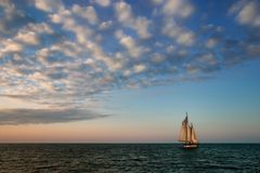 Into the Wind. Tall sailing ship in Key West, Florida Stock Images