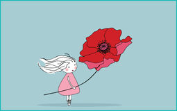 Wind. Vector illustration of girl with giant poppy, standing in the wind Stock Photography