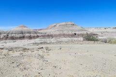 Wind-abgefressene Felsformationen des grauen Steins in der Wüste Stockfoto