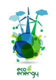 Wind alternative energy generator on the green Earth. Abstract v. Ector illustration. Ecology background, concept for save earth day Royalty Free Stock Photography