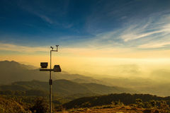 The wind anemometer with landscape. Stock Photo