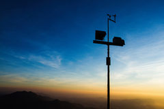 The wind anemometer with landscape. Royalty Free Stock Images