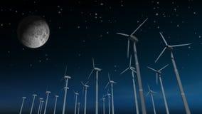 Wind-Arbeitsturbinen (Nacht) stock abbildung