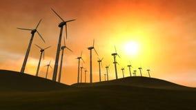 Wind-Arbeitsturbinen (Sonnenuntergang) lizenzfreie abbildung