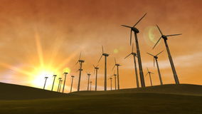 Wind-Arbeitsturbinen (Sonnenuntergang) stock abbildung