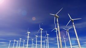 Wind-Arbeitsturbinen (Tag u. Nacht) stock abbildung