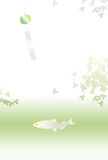 Wind bell and fish with leaves Royalty Free Stock Image